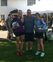 Dartmoor Firkin Challenge, 1st female team ~ Maddy Horton & Lucy Allan with Stephen Earp from The Royal Oak Inn
