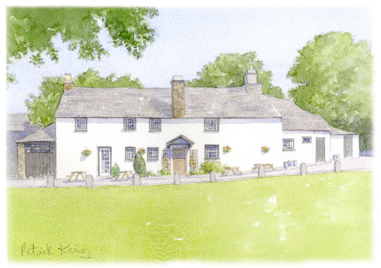 From a watercolor painting of the Royal Oak Inn by Patrick King