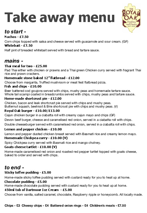 Take Away Menu - February 2021