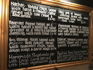 Specilals Blackboard in the bar
